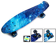Скейт Penny Board, с широкими светящимися колесами Пенни борд, детский , от 4 лет, расцветка Космос
