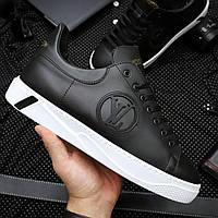 Кеды модные Louis Vuitton Мужские кроссовки кожа Премиум Реплика (Размер 40) Черные/Белые
