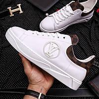 Кеды модные Louis Vuitton Мужские кроссовки кожа Премиум Реплика (Размер 40) Белые/Коричневый
