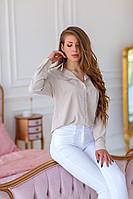 Рубашка c карманами однотонная женская БЕЖ (ПОШТУЧНО), фото 1