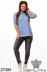 Женская голубая рубашка в клетку на пуговицах