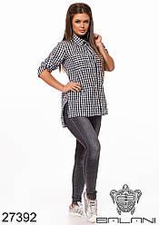Женская черно-белая рубашка в клетку на пуговицах