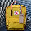Городской рюкзак Канкен Fjallraven Kanken школьный Rainbow Yellow радужные ручки.  Живое фото. Premium replic
