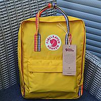 Городской рюкзак Канкен Fjallraven Kanken школьный Rainbow Yellow радужные ручки.  Живое фото. Premium replic, фото 1
