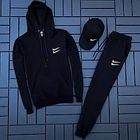Спортивный костюм мужской Nike черный (кофта + штаны) осень весна. Живое фото. Чоловічий спортивний костюм