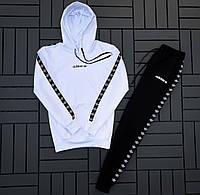 Спортивный костюм мужской Adidas белый (кофта + штаны) осень весна. Живое фото. Чоловічий спортивний костюм