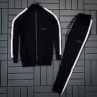 Спортивный костюм мужской трикотаж черный классика Baterson Hozar Турция. Живое фото
