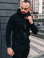 Спортивный костюм мужской черный с капюшоном трикотаж Турция. Живое фото. Чоловічий спортивний костюм