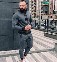 Спортивный костюм мужской серый с капюшоном трикотаж Турция. Живое фото. Чоловічий спортивний костюм