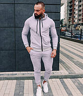 Спортивный костюм мужской светло серый с капюшоном трикотаж Турция. Живое фото. Чоловічий спортивний костюм
