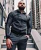 Спортивный костюм мужской серый лампасы с капюшоном стильный Турция. Живое фото. Чоловічий спортивний костюм