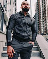 Спортивный костюм мужской серый лампасы с капюшоном стильный Турция. Живое фото. Чоловічий спортивний костюм, фото 1
