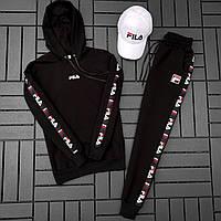 Спортивный костюм мужской Fila черный (кофта + штаны) осень весна. Живое фото. Чоловічий спортивний костюм