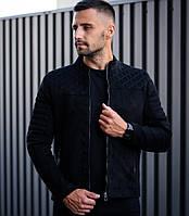 Мужская замшевая куртка черная классический Сан Марино (куртка осень-весна). Фото в живую. Чоловічі куртки, фото 1