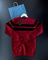 Мужской свитшот красный с черным Турция. Живое фото (кофта трикотаж), фото 1