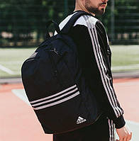 Мужской рюкзак Adidas городской спортивный молодежный черный. Живое фото. В 2х цветах, фото 1