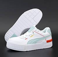 Женские кроссовки Puma Cali Sport White Mint белые осень весна. Живое фото. Реплика ААА+, фото 1