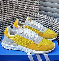 Мужские кроссовки Adidas ZX 500 RM демисезонные осень весна желтые. Живое фото (Реплика ААА+)
