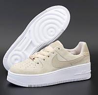 Женские кроссовки Nike Air Force 1 Beige Sage весна-осень низкие бежевые. Живое фото. Реплика, фото 1