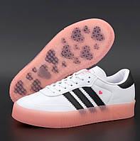 Женские кроссовки Adidas Samba кожаные демисезонные осень весна белые. Живое фото. Реплика