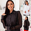 Р 42-58 Нарядна блузка з прозорими рукавами в горох Батал 22250-1