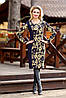Платье футляр с длинным рукавом, цветочный принт, трикотаж-стрейч