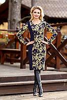 Платье футляр с длинным рукавом, цветочный принт, трикотаж-стрейч, фото 1