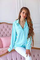 Рубашка c карманами однотонная женская БИРЮЗА (ПОШТУЧНО), фото 1