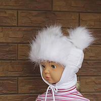 Шапка зимняя белая с ушками для девочки р.46-48 (6 мес. - 1,5 года)