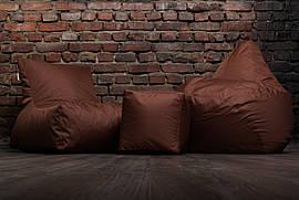 Кресло мешок груша пуф набор  коричневого цвета
