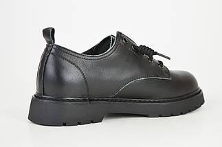 Туфлі чорні на шнурках Berkonty 8015 шкіра, фото 3
