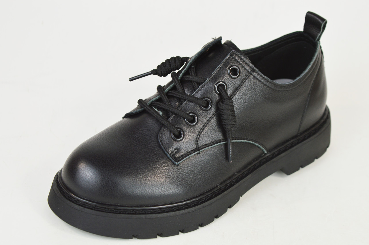Туфлі чорні на шнурках Berkonty 8015 шкіра