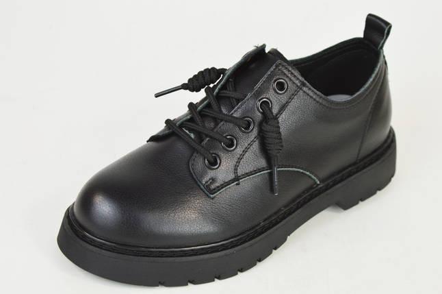 Туфлі чорні на шнурках Berkonty 8015 шкіра, фото 2