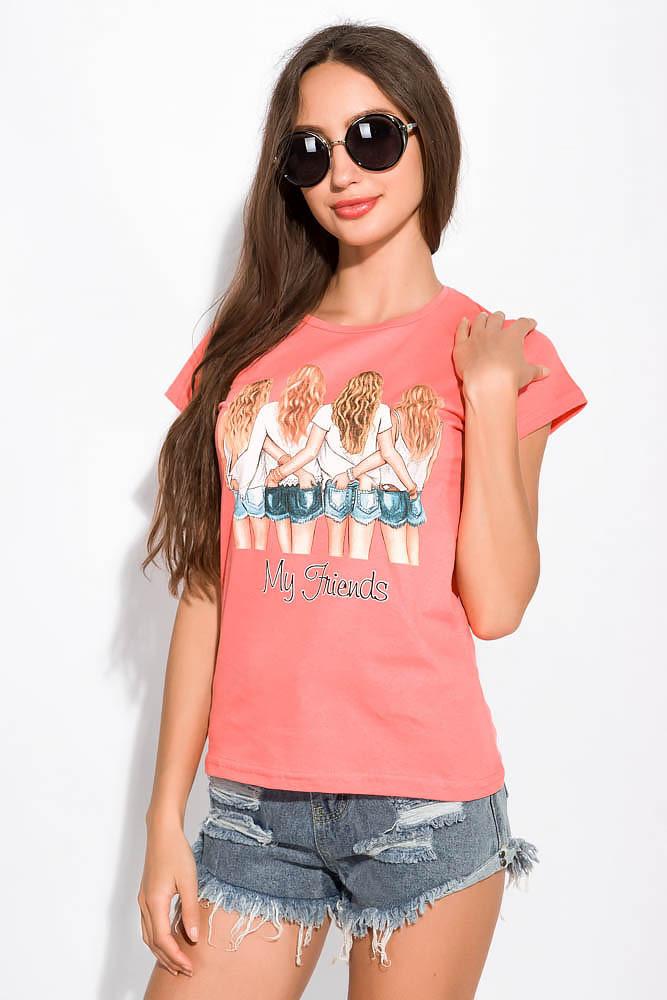 Модная женская футболка 155P006 (Коралловый)