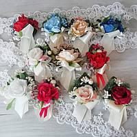 Бутоньерки на свадьбу на булавке или на резинке