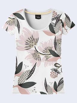 Женская футболка с принтом Цветы на белом