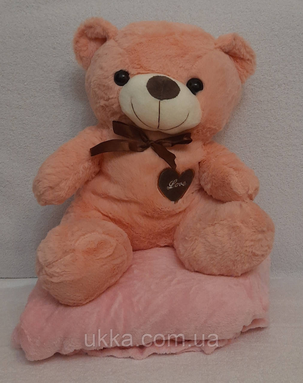 Игрушка подушка плед Мишка розовый