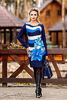 Аккуратное платье средней длины, сочетание полос и цветочного узора, трикотаж стрейч, фото 1
