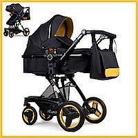 Коляска детская Универсальная 2 в 1 Трансформер желтая с черным NINOS BONO