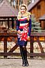 Аккуратное платье средней длины, сочетание полос и цветочного узора, трикотаж стрейч