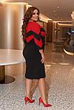 Женское платье креп-дайвинг черное к расным размер: 50-52, 54-56, 58-60, фото 4