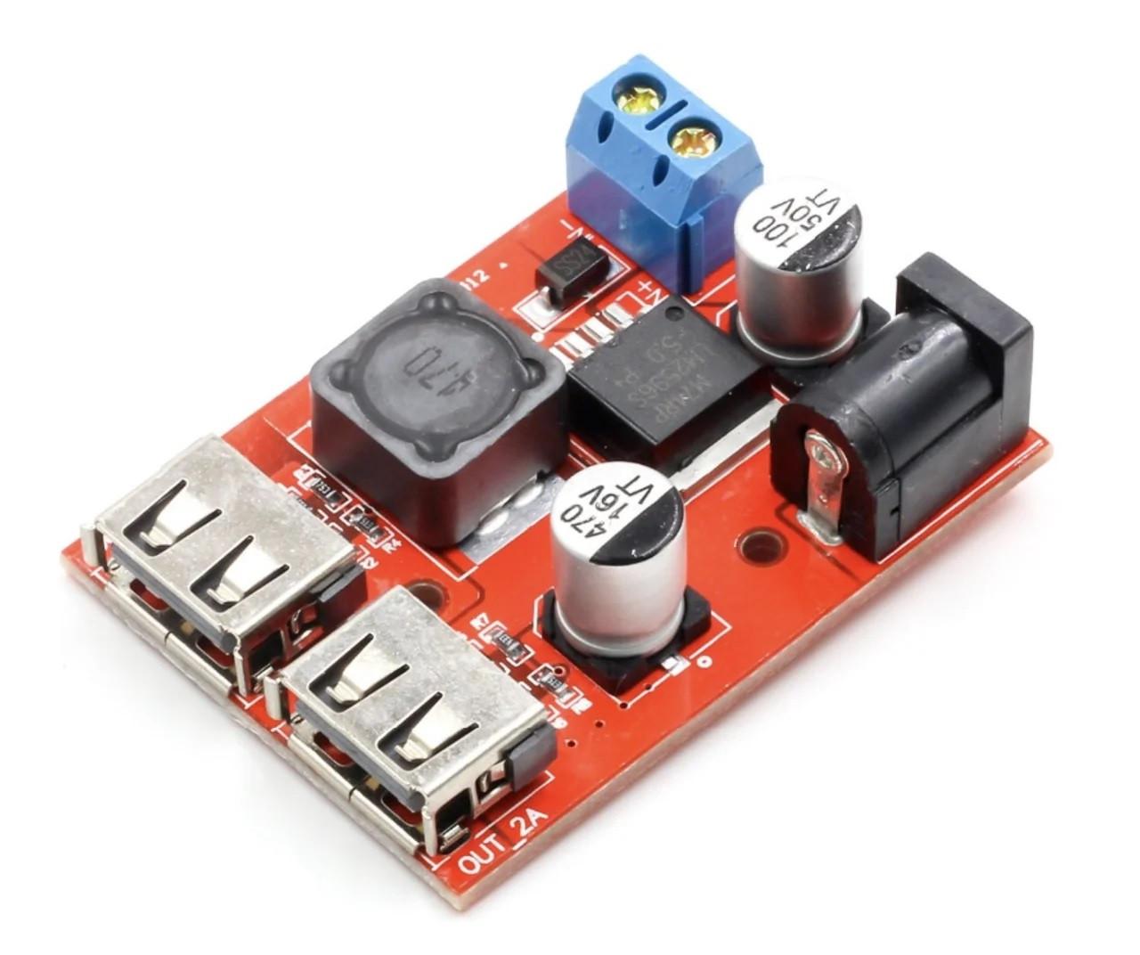 Понижуючий перетворювач USB DC-DC 6-40В на 5В 3А LM2596S