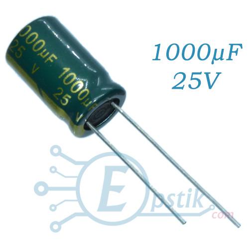 Конденсатор 1000uF 25V, (10*17) 105°C, Low ESR