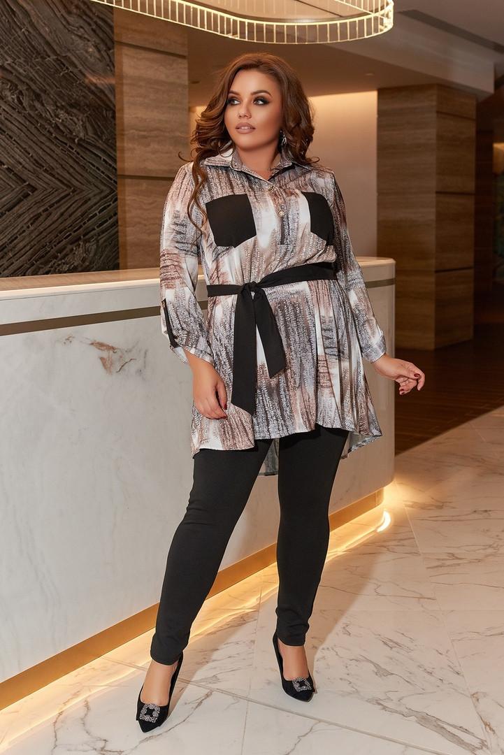 Женский костюм туника и лосины размер батальный: 50-52, 54-56, 58-60
