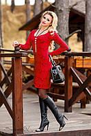 Эффектное платье с утонченным орнаментом, жаккард трикотаж, классическое, зима, фото 1