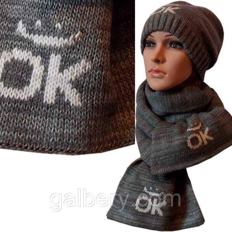 """Вязаная женская шапка-носок и шарф """"Смайлик"""""""