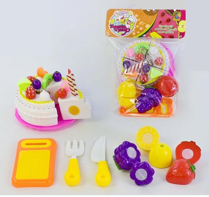 Игровой набор Торт с фруктами на липучках