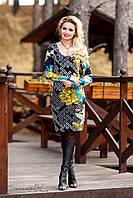 Облегающее платье, с турецкого принтованного трикотажа, цветочный узор, с длинным рукавом, фото 1