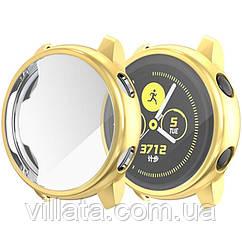 Чехол для Samsung galaxy watch с защитным стеклом  active 2 44mm Gold