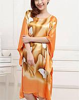 Шелковое платье кимоно цветы